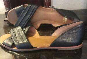 NEW! FRANCO SARTO 8.5 Ladies Open Toe Slides BLACK Flats BUTTER-SOFT LEATHER