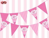 Perfect Pink Happy 80th Birthday Vintage Polka Dots Stripes Theme Bunting Banner