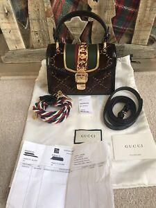 mint $2350 GUCCI Sylvie mini velvet GG leather handbag carried 2x trusted seller