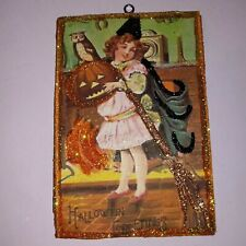 Vtg Image ~Victorian Witch Jol ~ Halloween Glitter Wood Ornament