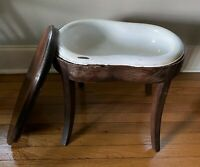 Antique French Portable Bidet Commode Wash Toilet Chamber Pot w Enamel Insert