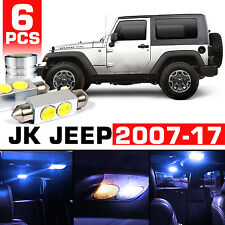 6 x Blue LED Interior Bulb  License Plate Lights For 2007-2017 Jeep Wrangler JK