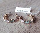 Vintage Enamel Rhinestone Flower Hoop Stud Earrings