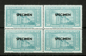 COSTA RICA BLOCK of Four Specimen Stamps TIMBRE DE ARCHIVO #4976