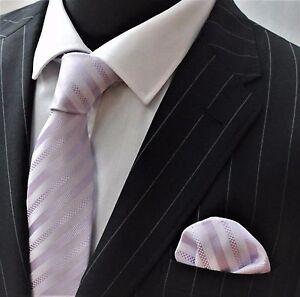Tie Neck tie with Handkerchief Lilac Stripe LUC59
