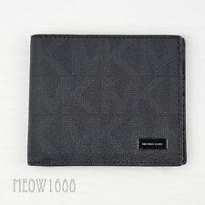 New Authentic Michael Kors Men JET SET Black Logo Bifold Billfold Wallet $118