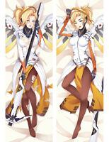 "Overwatch OW Mercy Dakimakura Anime Body Pillow Cover Case 150x50 Hugging 59"""
