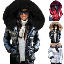 Womens Down Cotton Jacket Outwear Parka Fur Collar Hooded Coat Quilted Winter