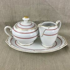 Vintage Porcelain Creamer Jug Sugar Bowl & Tray Set German Bavaria US Zone