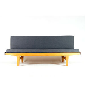 Retro Vintage Danish Poul Volther FDB Teak Daybed Sofa Bed Studio Couch 60s Oak
