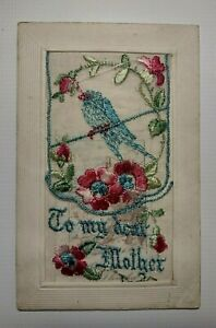 Vintage First World War c1914-1918 Embroidered Postcard - 'To My Dear Mother'