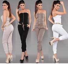 Ärmellose Damen-Overalls aus Baumwolle ohne Muster