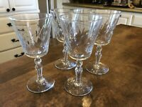 Set of 4 Vintage Libbey Rocke Sharpe Cut Wine Goblets Star of David Base