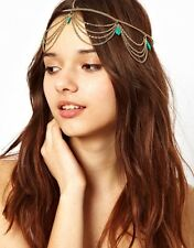 Bohemian Gold Hair Head Chain Turquoise Drop Boho Headpiece Headband Hippie