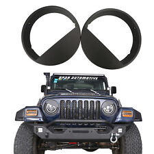 2x Front Light Angry Bird Headlight Trim Cover Bezels for Jeep Wrangler TJ 97-06