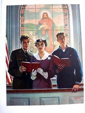 Beautiful 1943 Print of Mother In Church Standing w/ Navy Son & Army Son *