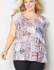 Women's Plus Size 22/24 3X COTTON Top AZTEC TIERED OFF THE SHOULDER Retail $55