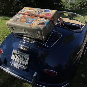VINTAGE 1950's LEATHER & TWEED FIBRE CLASSIC CAR RACK TRUNK SUITCASE BAG R$1779