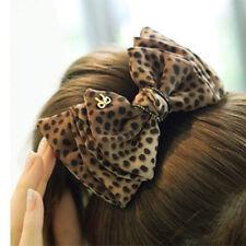 Fashion Women Lady Bow Leopard Head Clip HairPin Hair Clip Luxury Accessories