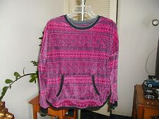 Simply Vera Vera Wang Womens Velvet Pink & Charcoal Print Top SZ Med New NWOT