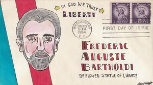 SCOTT 1057 STATUE OF LIBERTY BEN KRAFT HAND PAINTED FIRST DAY COVER FDC 1954