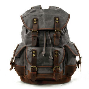 Vintage Canvas Backpack Casual Leather Bags Outdoor Shoulder Rucksack Daypacks