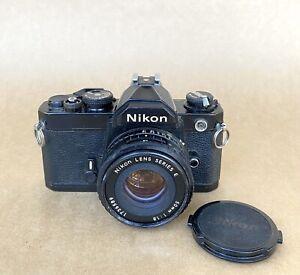 Nikon FM Black 35mm SLR Film Camera W/ 50mm 1.8 Series E Lens, VINTAGE, READ!!