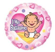 PALLONCINO BATTESIMO BIMBA mylar rosa 45 cm Addobbi Feste ed eventi