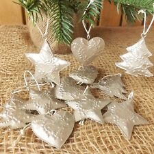 12 Champagne Embossed Metal Small Christmas Tree Decorations Tin Tree Star Heart