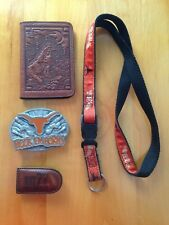 NCAA Pewter Belt Buckle Texas Longhorns Hook'Em Horns Lanyard, money clip, pouch