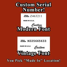 Custom Serial Number and More Guitar Waterslide Decal Set