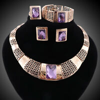 Women Gold Plated Crystal Purple Zircon Necklace Earring Bangle Ring Jewelry Set