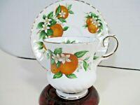 Vintage Elizabethan Florida Oranges Tea Cup and Saucer England Post 1940