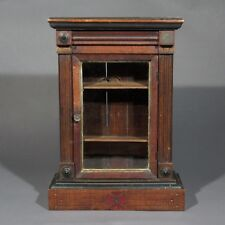 Antique French Handmade Wooden Salesman Sample Doll Furniture Cabinet, 19th c.