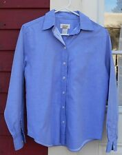 """TALBOTS Blue Long Sleeved Button Down Cotton Shirt Size 6 (43"""")"""