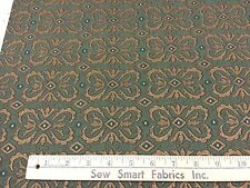"""Green & Copper Scroll Box Design Upholstery Fabric: 56"""" W, 3 yd. piece, Can CTO"""