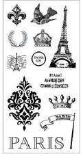 FISKARS Simple Stick PARIS Rubber Cling Stamps EIFEL TOWER FLEUR DE LIS DAMASK