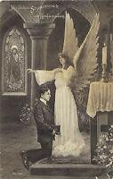 Konfirmation - Konfirmand mit Engel-Schutzengel, Ak um 1910