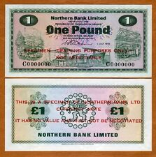 SPECIMEN Ireland Northern Bank, 1 pound, 1970, P-187s, UNC > Scarce