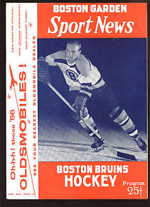 Jan 26 1956 NHL Hockey Program Montreal Canadiens at Boston Bruins-NM