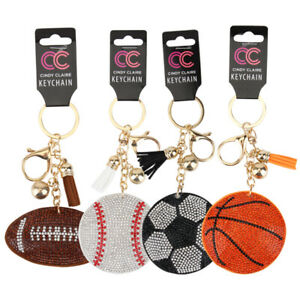 Bedazzled Clip on Bling Sports Basketball Keychain Accessory Party Favor