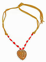 Brass Goddess Heart with Red Coral and Tan Buckskin Adjustable Necklace USA