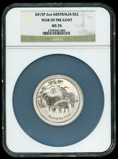 2015-P Australia 2oz .999 Silver Year of the Goat $2 NGC MS70