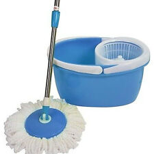22A Easy Clean Magic 360 Rotating Mop for Floor w/Bucket 2 Spining Heads Blue