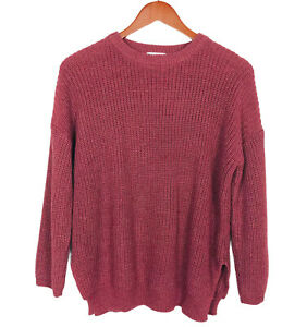 BONGO Nordstrom Crew Neck Knit Sweater Size Small Burgundy Red