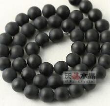 8mm Natural Onyx Gemstone Round Loose Beads Spacer 15.5''Strand Matte Black G952