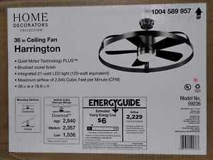 """HDC Harrington 36"""" White LED Brushed Nickel In/Outdoor Ceiling Fan w/Remote"""