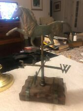 """Vintage tabletop Galloping horse weather vane brass Wood Base 14-1/2"""" Tall"""