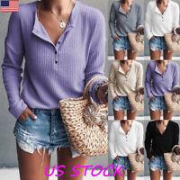 Fashion Women Button V Neck Knit Plains Tops Autumn Casual Jumper T Shirt Tee US