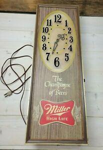 Vintage Miller High Life Lighted Clock Bar Sign - For Parts - Champagne of Beers